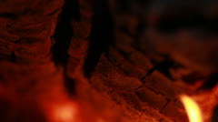 Flames under a Log - 25FPS PAL Stock Footage