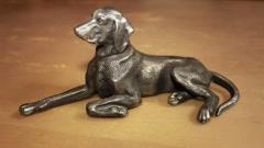 Dog metal figurine Stock Footage