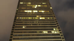 Tilt Shift Time Lapse of Building at Night -  4K - 4096x2304 - stock footage