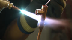 Copper pipe brazing PAL Stock Footage