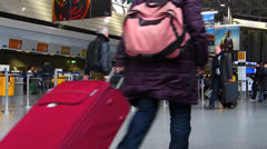 Frankfurt am Main airport passengers terminal Check-in counter Stock Footage