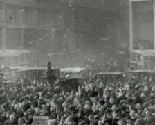 World War 1 - Cheering Crowd - stock footage
