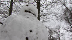 Low Angle Close Up of Snowman Stock Footage