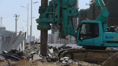 Drill machinery drilling in land,Construction site. Stock Footage