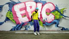 Urban footballer on graffiti background - #3 of 4 Stock Footage