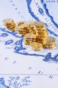 map california gold treasure doubloons coins - stock photo