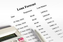 Paying off a loan schedule forecast Stock Photos