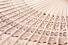Wooden fan - stock photo