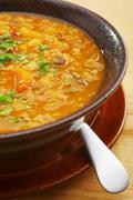 Lentil vegetable soup armenian Stock Photos