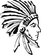 Indian chief (black and white) - stock illustration