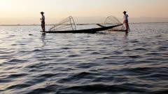 Local Intha Fishermen, Burma Stock Footage