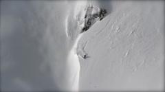 Skier turn in mountain - stock footage