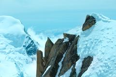 Mont blanc mountain massif (view from aiguille du midi mount,  french ) Stock Photos
