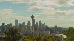 Seattle Skyline Timelapse Clouds Wide Stock Footage