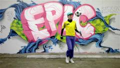 Urban footballer on graffiti background - #1 of 4 Stock Footage