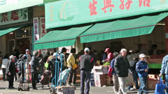 Stock Video Footage of Chinatown San Francisco vegetable market street HD 5585