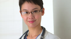 Portrait of Chinese woman doctor Stock Footage