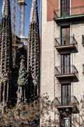 sagrada familia by antoni gaudi in barcelona spain - stock photo