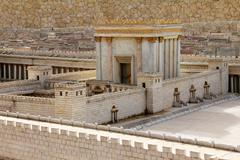 second temple. model of the ancient jerusalem. - stock photo