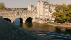 Pultney Bridge, Bath,UK - stock footage