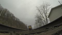 Train Tracks POV Freight Train Passing Over GoPro Hero3 Black Stock Footage