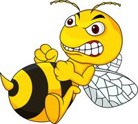 Angry bee cartoon - stock illustration