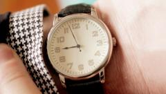 Business man checking watch Stock Footage
