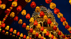 Chinese New Year Decoration at  Temple Kek Lok Si Stock Footage