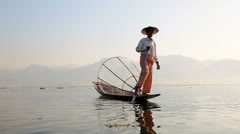 Local Intha Fishermen, Burma Stock Footage