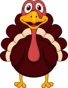 Cute turkey cartoon - stock illustration
