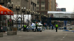 Boston Police Near Marathon Wreckage Stock Footage