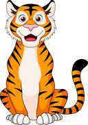 Cute tiger cartoon sitting - stock illustration