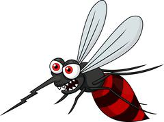 Angry mosquito cartoon - stock illustration