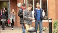 Leaving school Stock Footage