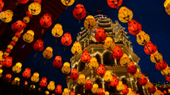 Chinese New Year Decoration at  Temple Stock Footage