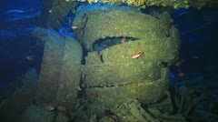 spare parts of the airplanes loaded at the war ship wreck Thistlegorm - stock footage