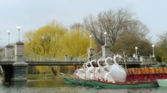 Swan Boats Boston Stock Footage