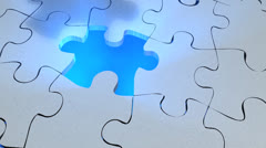 Jigsaw puzzle assembled, toy, play, fun, leisure, freetime. Stock Footage