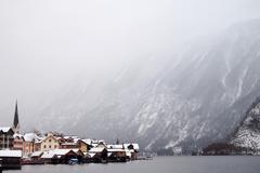 small town in the valley, Hallstatt, Austria. - stock photo