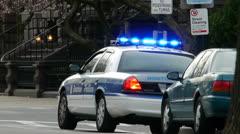 Boston Police Car Lights Flashing Stock Footage