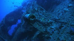 Stock Video Footage of Anti air crafts at the war ship wreck thistlegorm