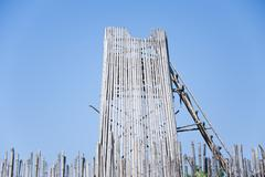 bamboo building site of thailand - stock photo