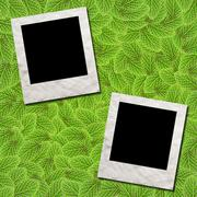 Photo frame green leafs for background Stock Illustration