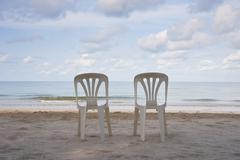 beach chairs on the beach - stock photo