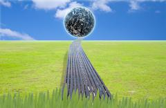 Earth in grass ideal for background Stock Illustration
