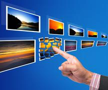 Hand reaching point to images Stock Illustration