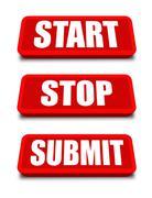 Start stop submit button Stock Illustration