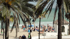 Spring Break Fort Lauderdale A1A Beach Scene - stock footage