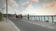 Stock Video Footage of Promenade next to Beach in the Summer