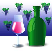 Green bottle and wineglass Stock Illustration